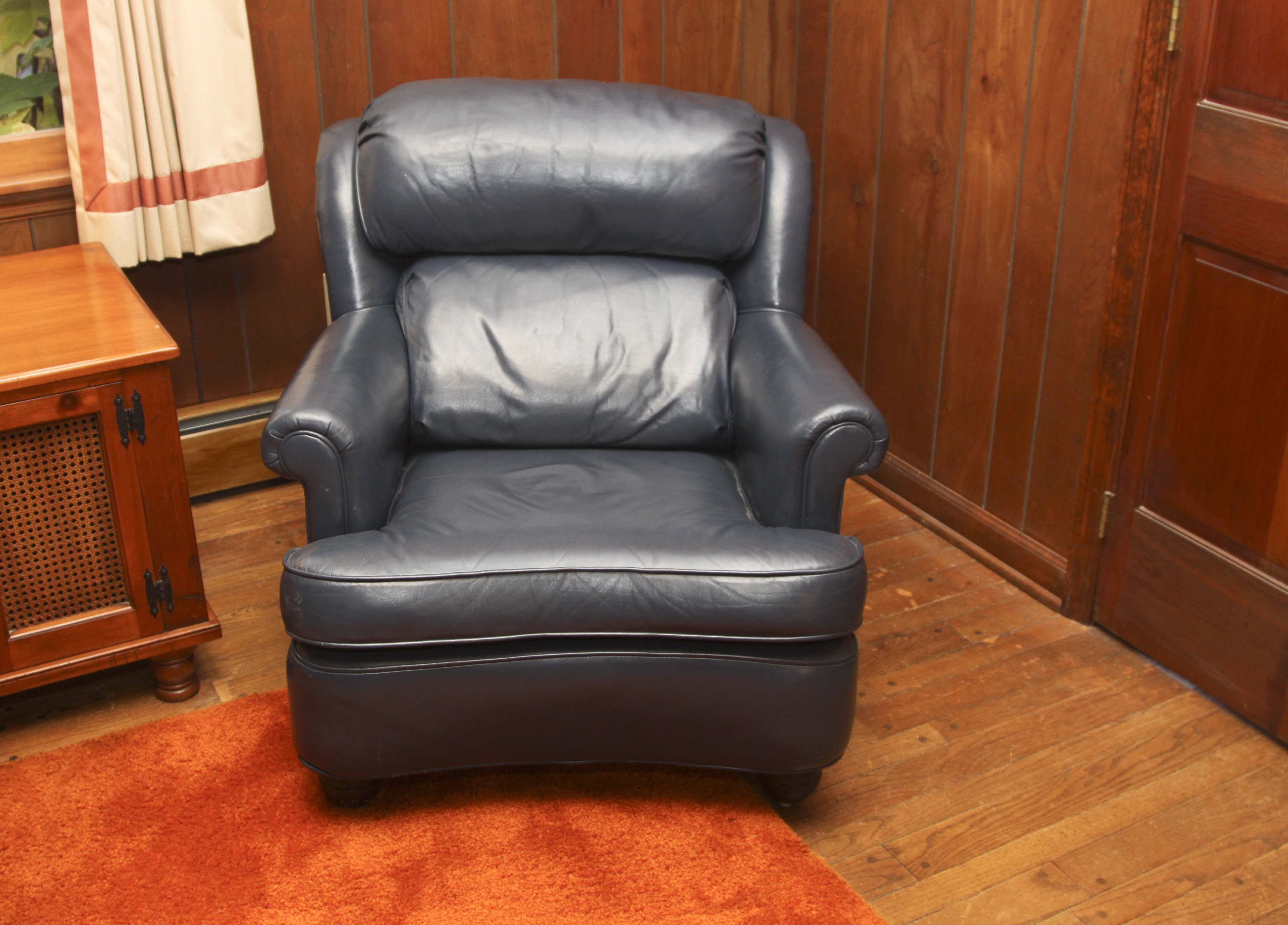 navy blue leather club chair dining room covers au and ottoman ebth