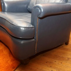 Navy Blue Chair With Ottoman Pedicure No Plumbing Leather And Ebth