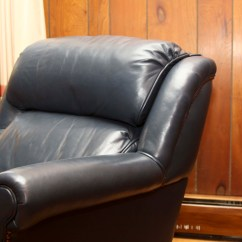 Navy Blue Leather Club Chair Target Kids Chairs And Ottoman Ebth