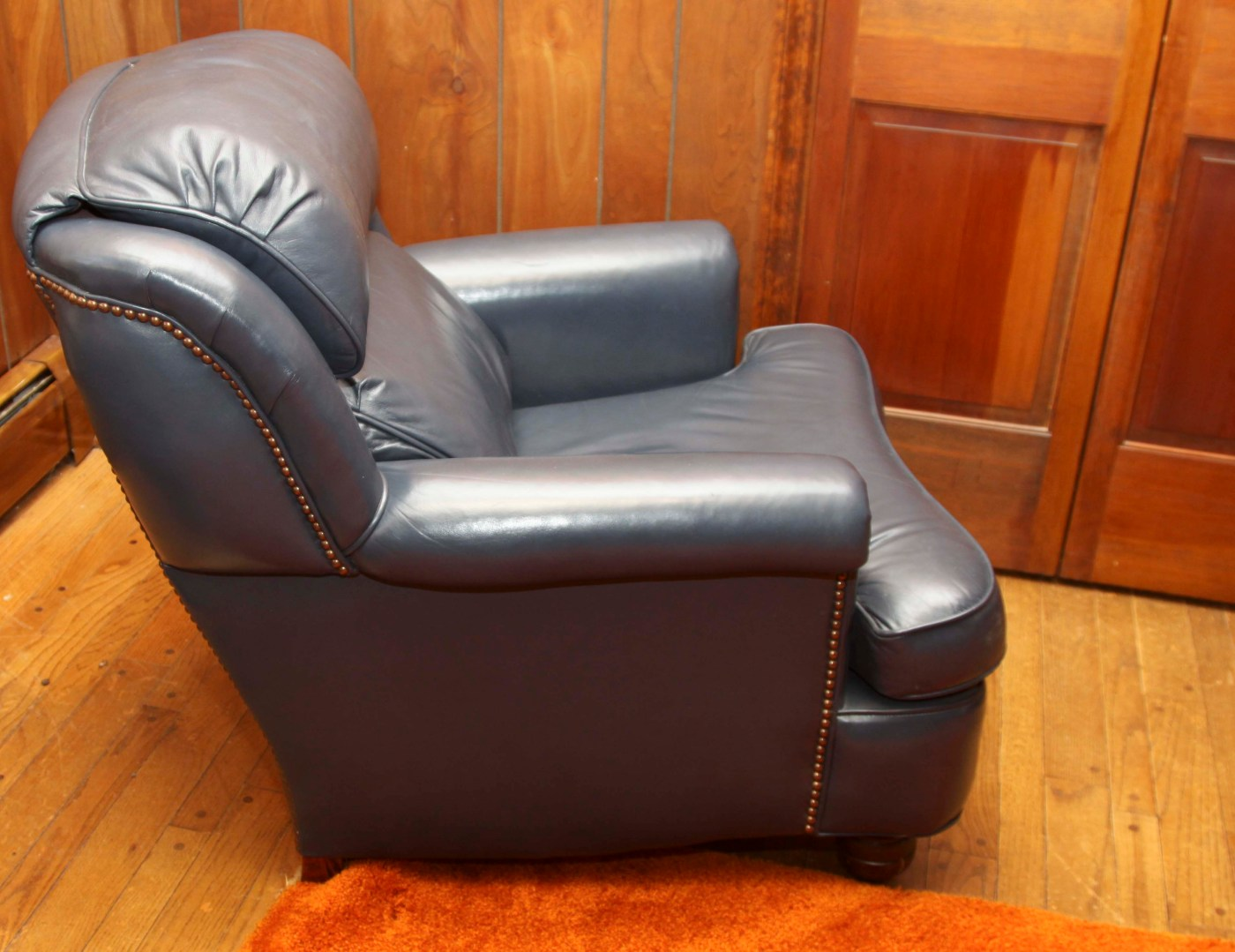 Blue Leather Chair Navy Blue Leather Chair And Ottoman Ebth