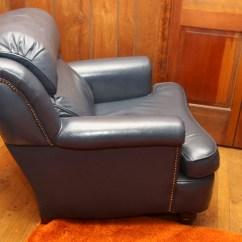Navy Blue Leather Club Chair Banana Leaf Rocking And Ottoman Ebth