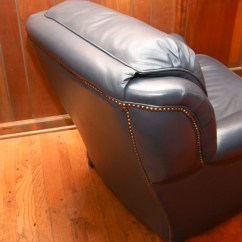 Navy Blue Leather Club Chair Build Deck Chairs And Ottoman Ebth