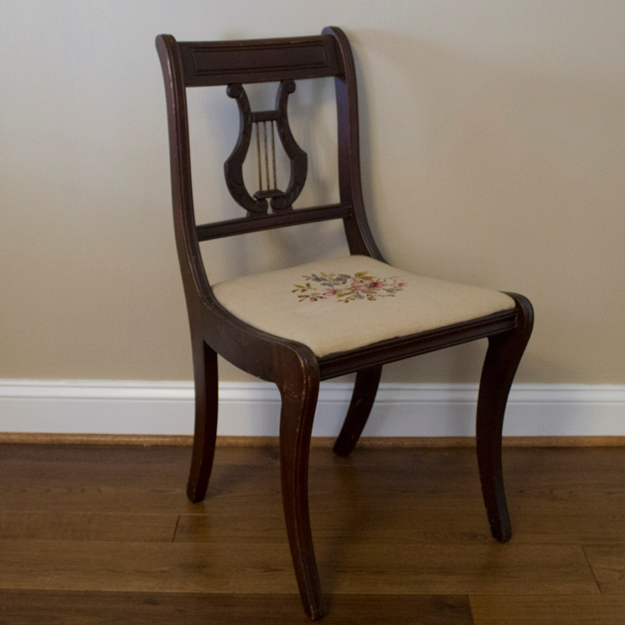 Duncan Phyfe Style Lyre Back Chair with Needlepoint Seat
