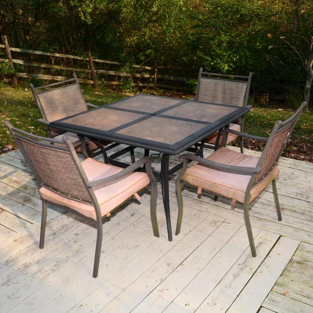Cast Aluminum Tile Top Patio Table And Chairs Ebth