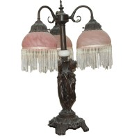 Victorian Style Lamp with Beaded Fringe Shades : EBTH