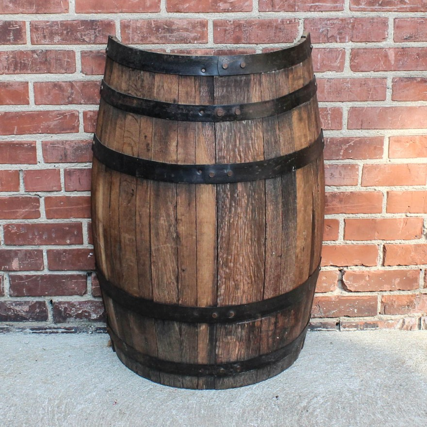 Half Whiskey Barrel Display