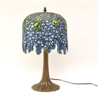 Art Nouveau Bronze Lamp With Tiffany Style Stained Glass ...