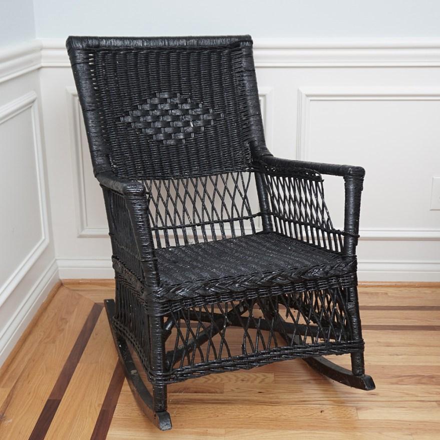 Black Wicker Rocking Chair  EBTH