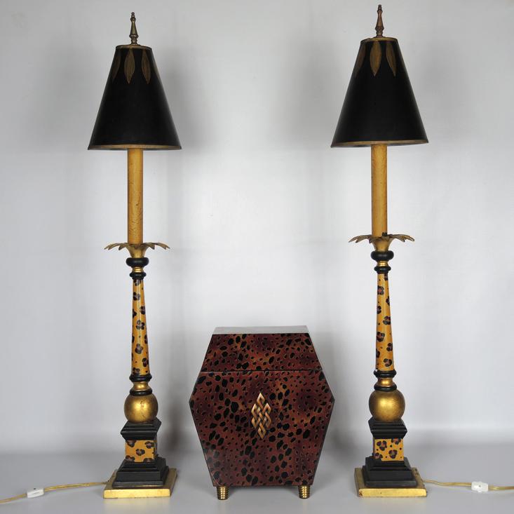 John Richardson Safari Lamp Set With Leopard Print Box Ebth