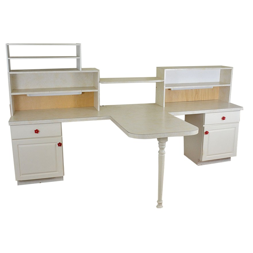 Large Two Sided Craft Desk With Storage Ebth