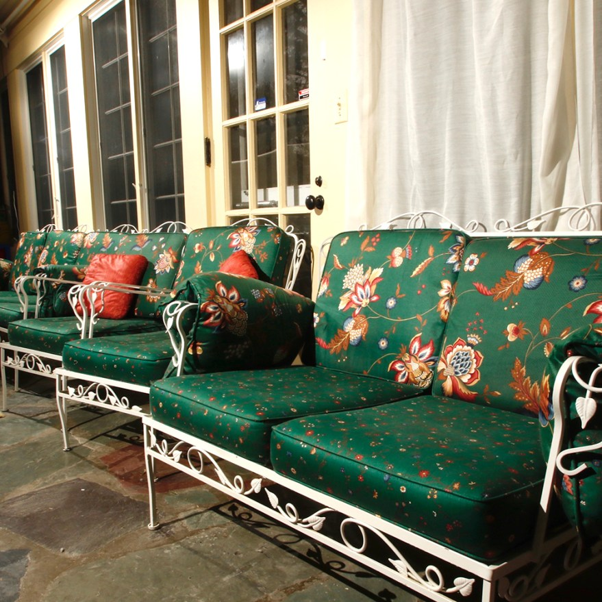 Vintage White Wrought Iron Patio Loveseat And Two Chairs