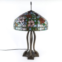 Tiffany Style Floral Table Lamp with Metal Base : EBTH
