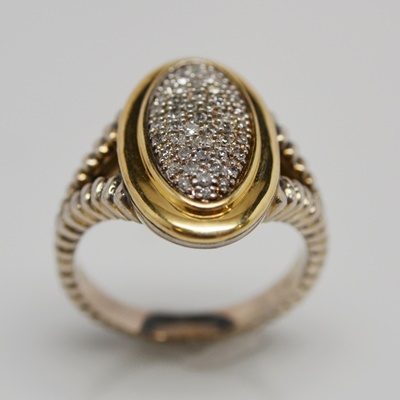 Yellow Gold and Sterling Silver Ring