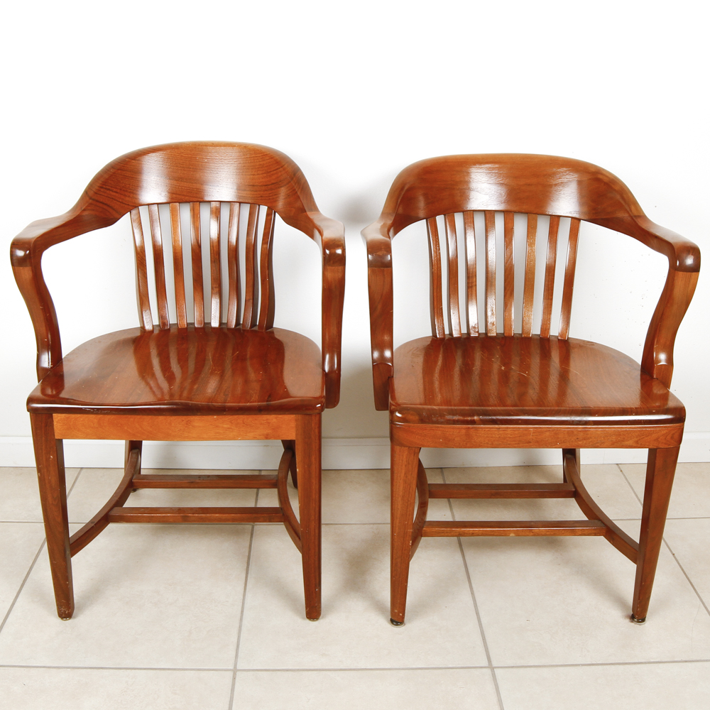 wooden library chair grey bucket pair of vintage taylor co oak chairs ebth