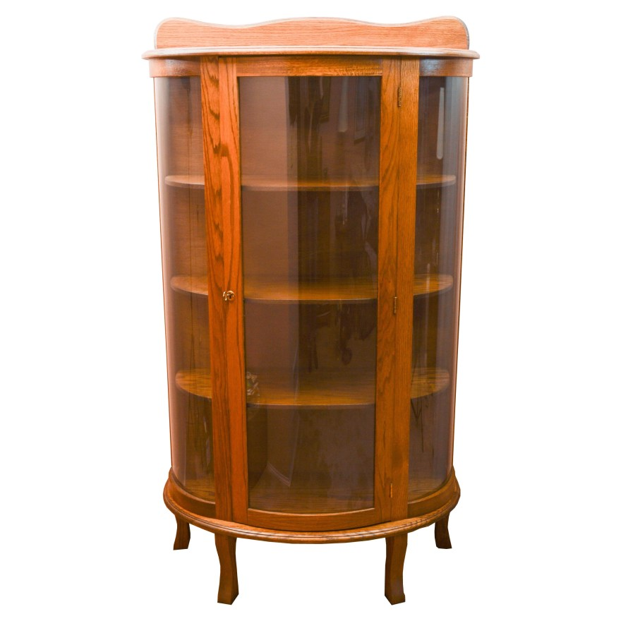 Victorian Style Oak Curio Cabinet Ebth