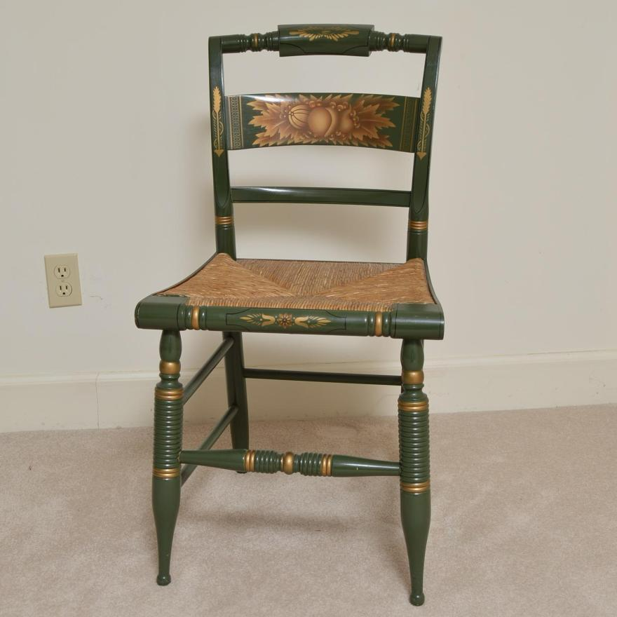 Vintage Hitchcock Chair With Rush Woven Seat Ebth