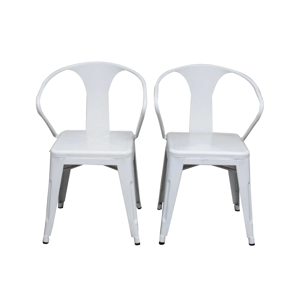 metal tub chairs teak folding pair of white enamel ebth