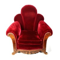 Victorian Red Velvet Upholstered Chair with Ornate Carving ...