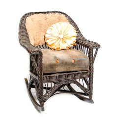 Vintage Wicker Rocking Chair Unique Baby Shower Chairs Rocker With Spring Cushioning And Pillow Ebth