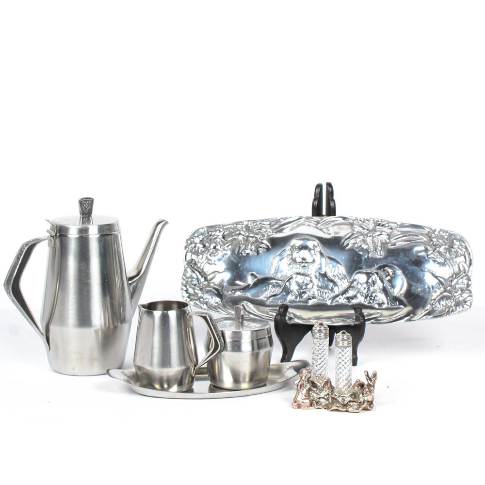 Stainless Steel Tea Set with Peltrina Bunny Tray EBTH