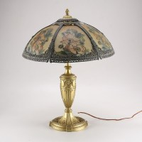 Table Lamp with Tan Glass Floral Shade : EBTH