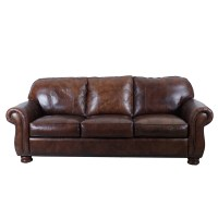 Thomasville Brown Leather Sofa with Ottoman : EBTH