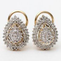 10K Gold Diamond Cluster Earrings : EBTH
