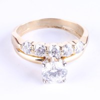 18K Yellow Gold and Leo Artisan Cut Diamond Wedding Ring ...
