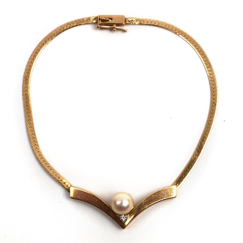 14k Gold Pearl And Diamond Herringbone