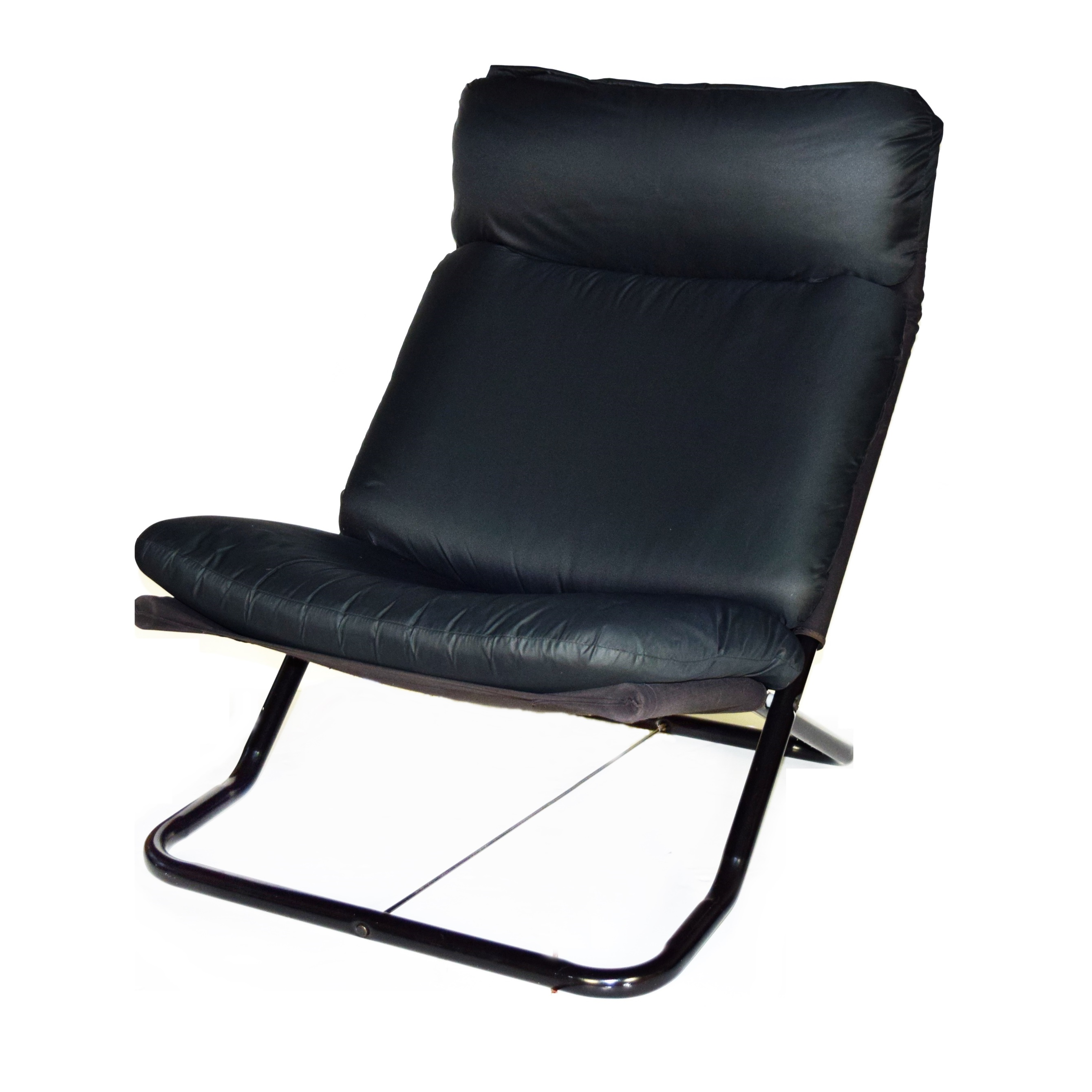 cushions for metal folding chairs red leather counter contemporary black frame chair with