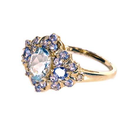 14k Yellow Gold Ring With Aquamarine Tanzanite And