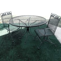 Wrought Iron Patio Table, Chairs And Umbrella Set : EBTH