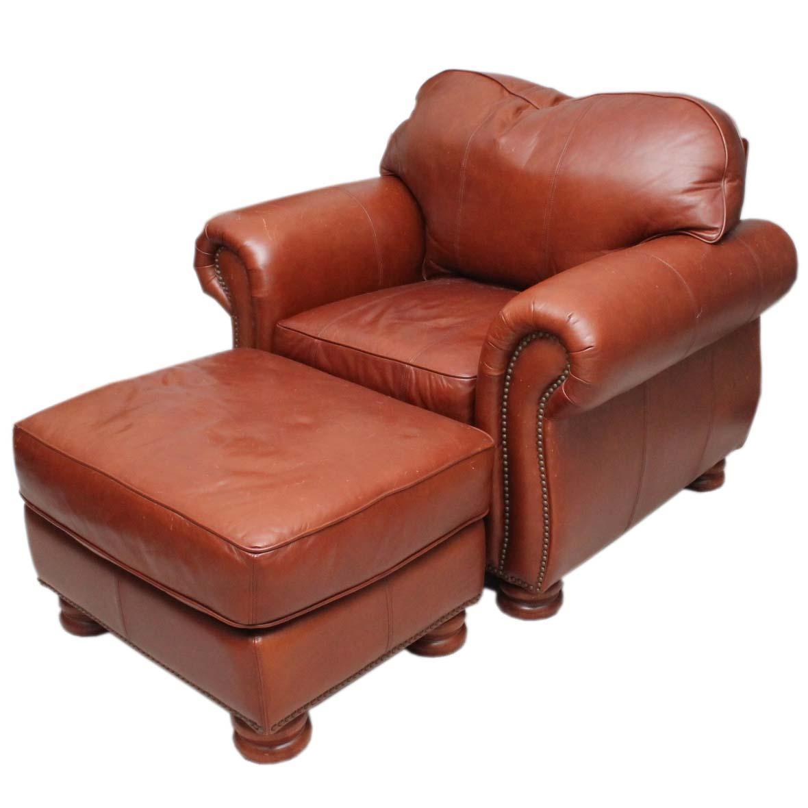 thomasville leather chair covers big w brown and ottoman ebth
