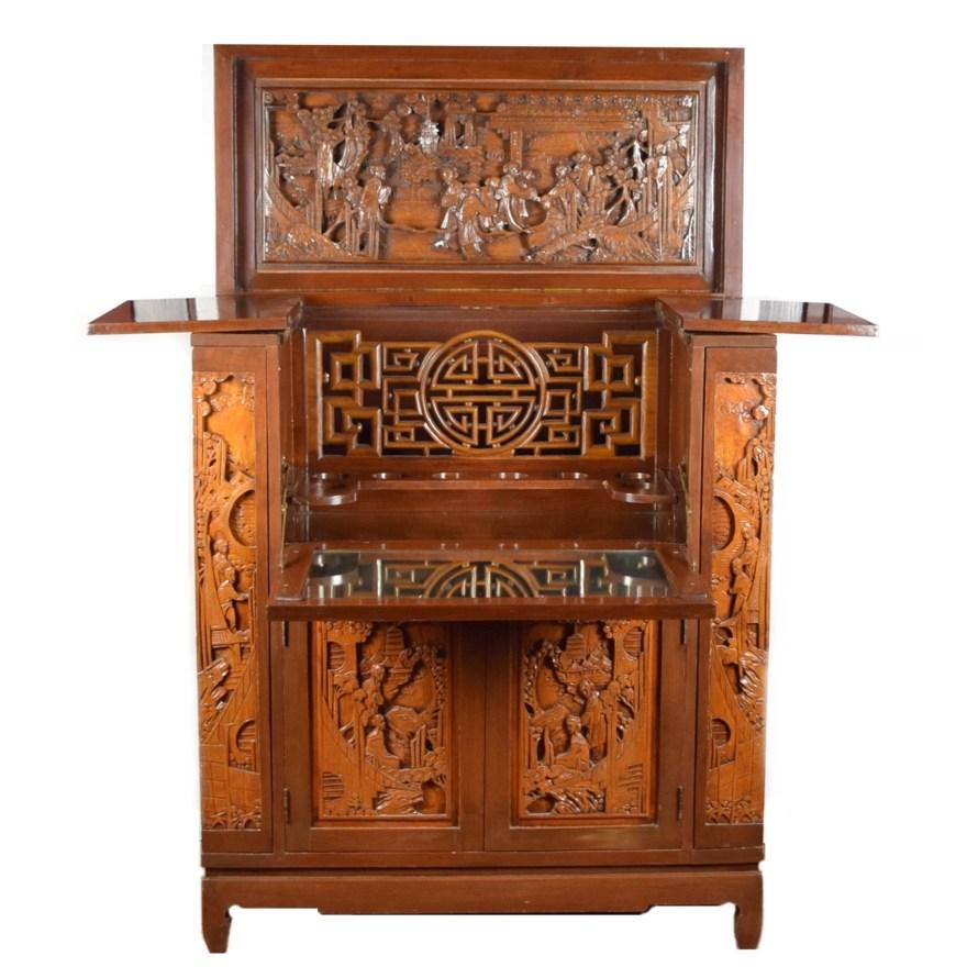 Splendid Antique Asian Bar Cabinet With Ornate Carved