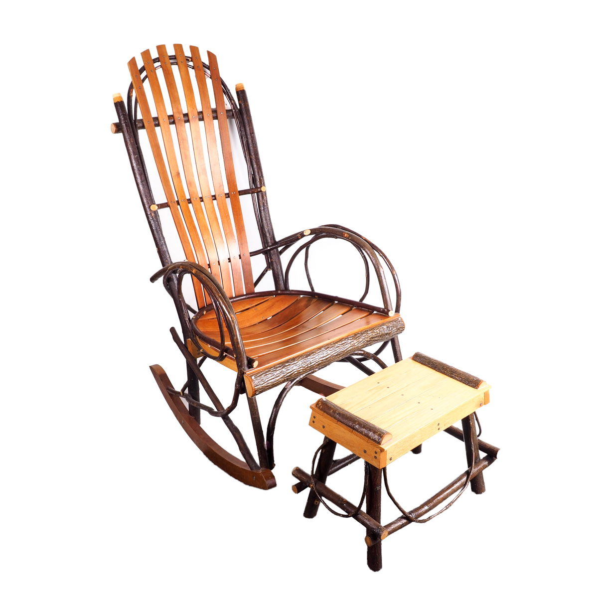 rocking chair footrest gym hsn handmade rustic hickory and by roy yoder ebth