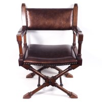 Mahogany Chair with Faux Leather Seat : EBTH