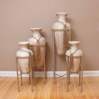 Set of Four Large Decorative Floor Vases with Stands : EBTH