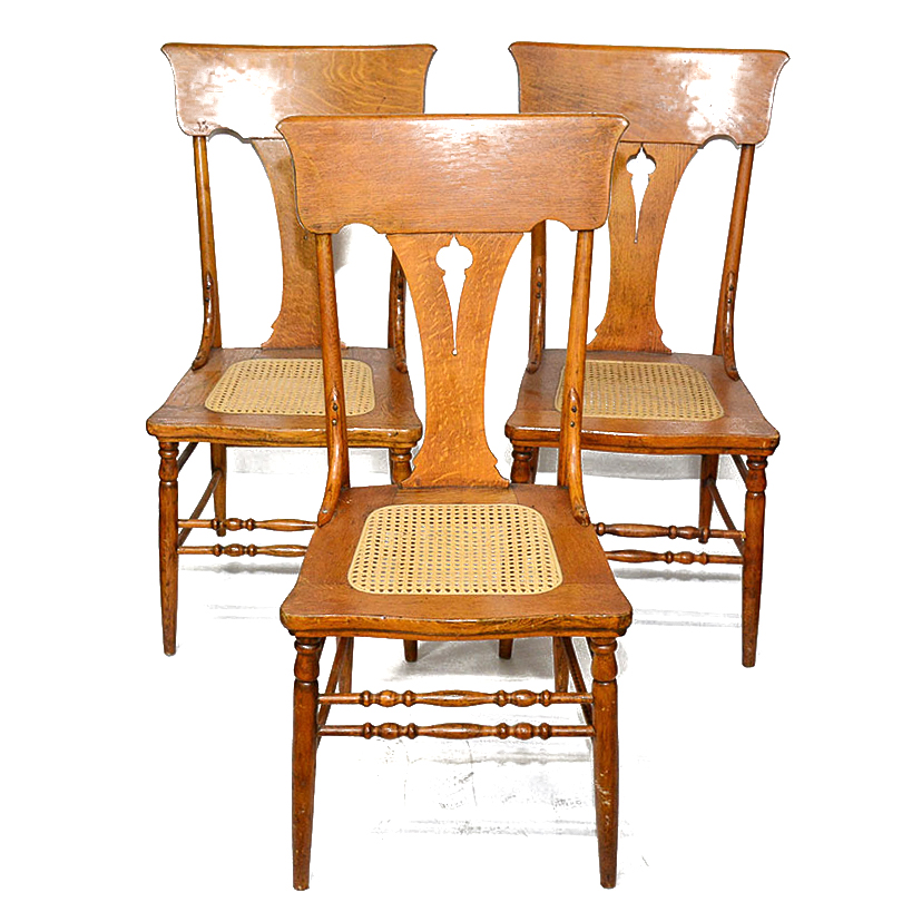 vintage oak dining chairs red tartan tub chair cane seat ebth