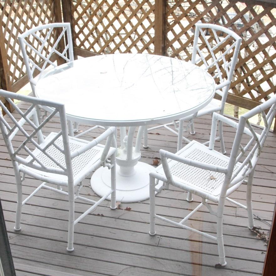 White Metal Bamboo Outdoor Patio Dining Set  EBTH