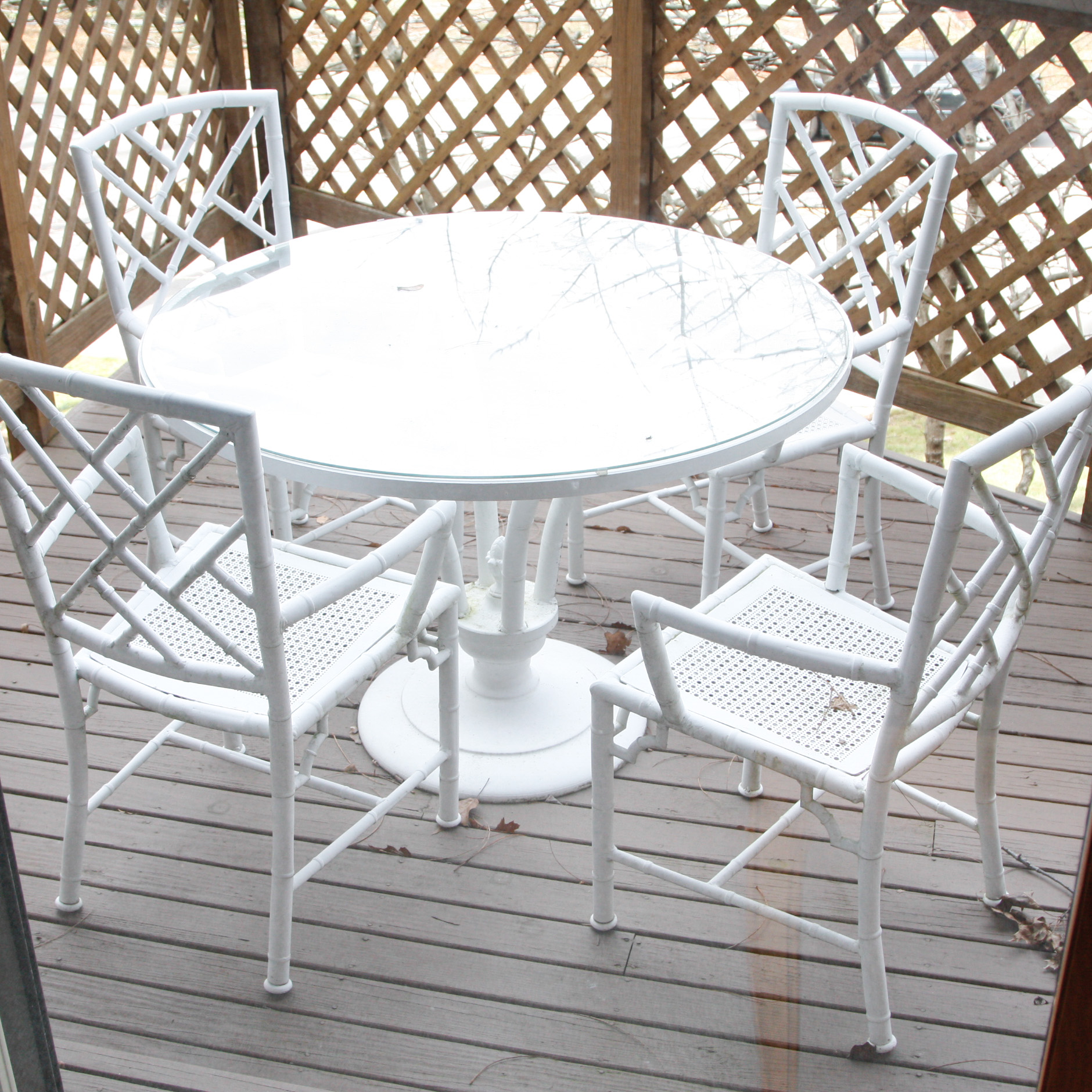 bamboo outdoor chairs carlyle chair side end table white metal patio dining set ebth
