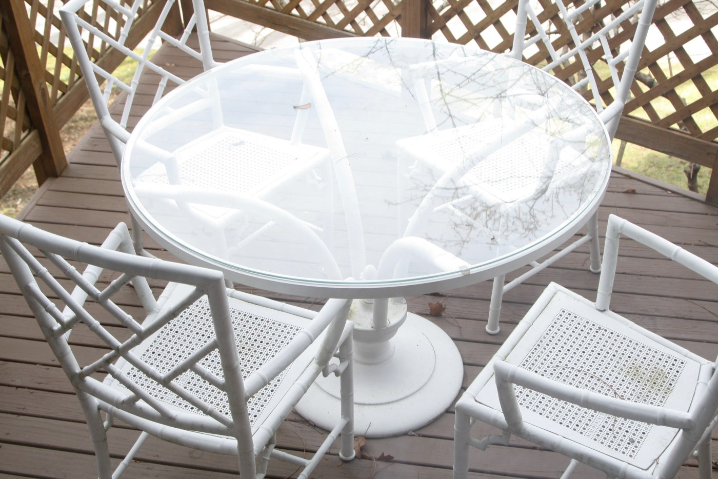 White Metal Bamboo Outdoor Patio Dining Set Ebth