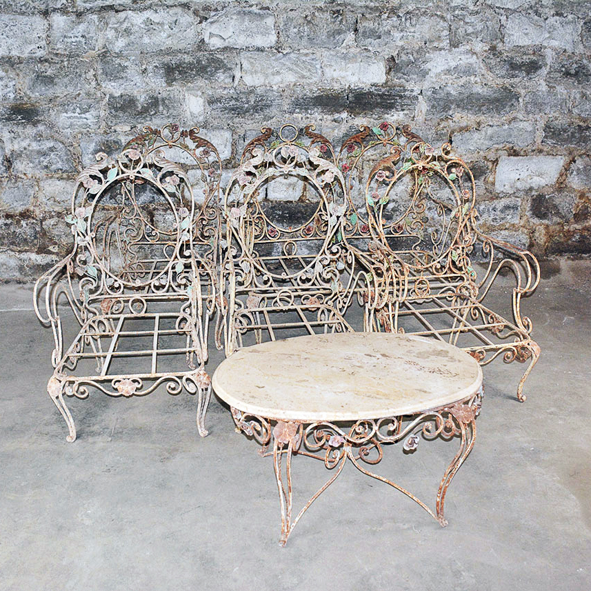 Vintage Outdoor Wrought Iron Patio Furniture Set Ebth