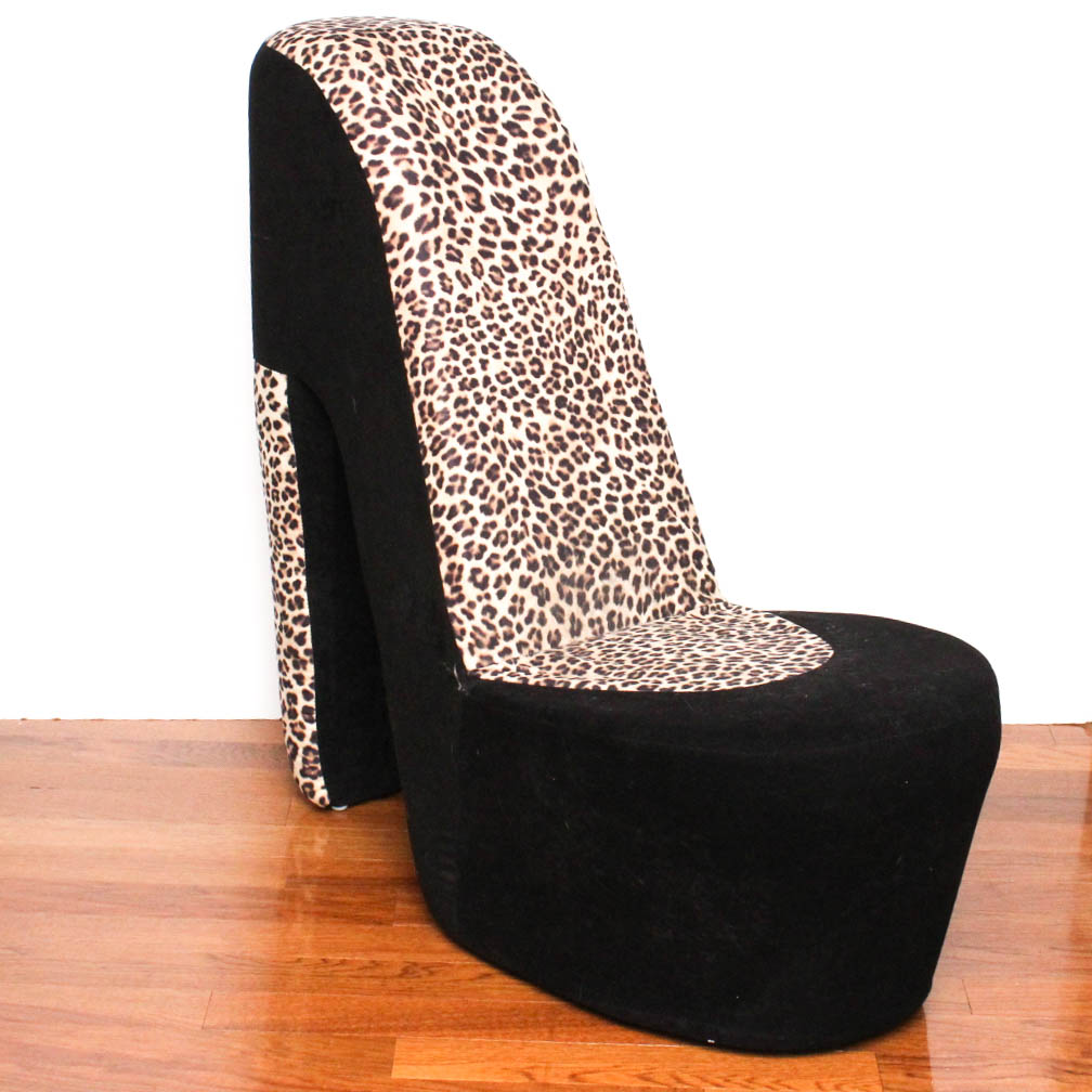 high heel shoe furniture chair outdoor lounge chairs costco leopard print ebth