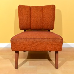 Orange Upholstered Chair Jake And The Neverland Pirates Vintage Low Tufted Back Ebth