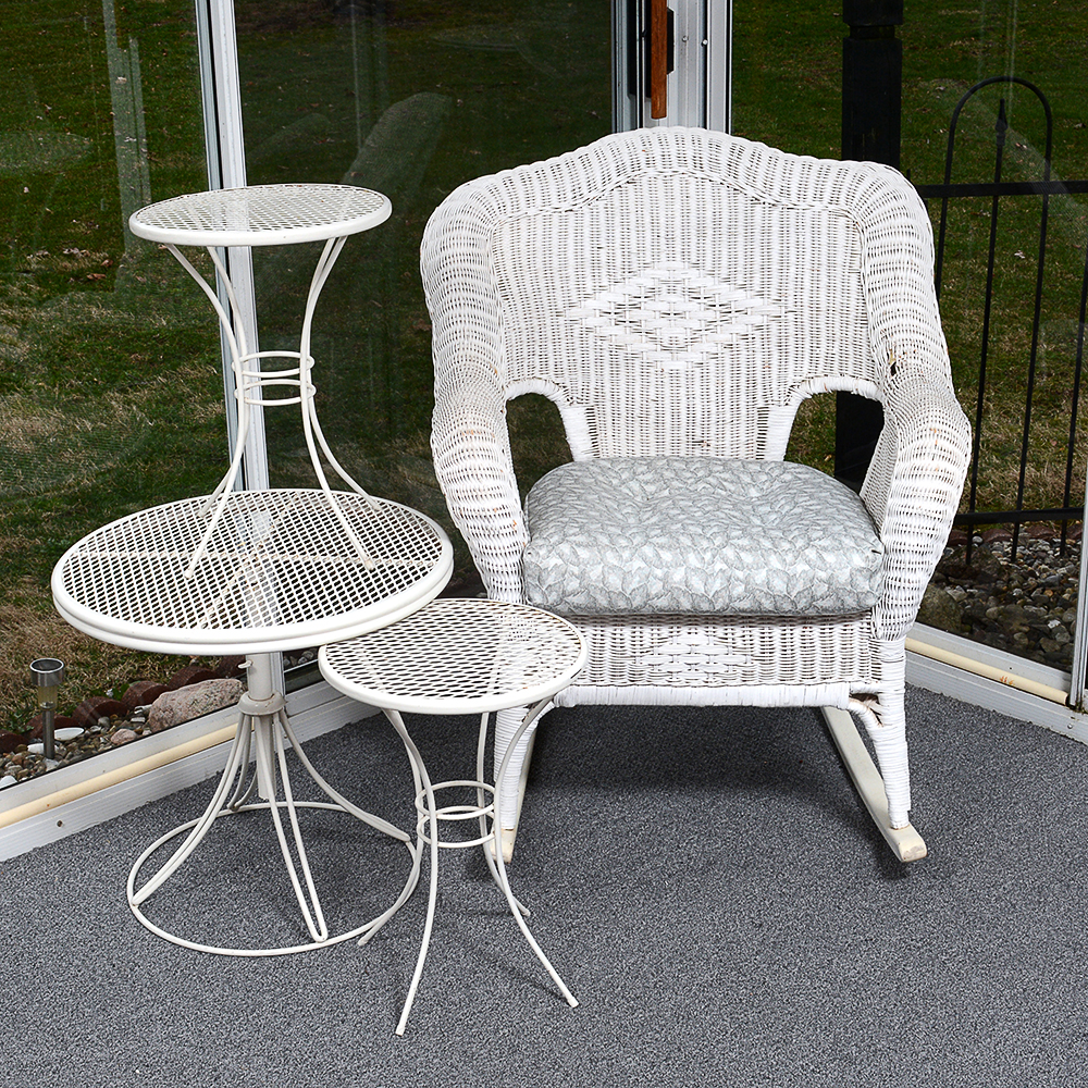 vintage wicker rocking chair perspex hanging and three metal patio tables ebth