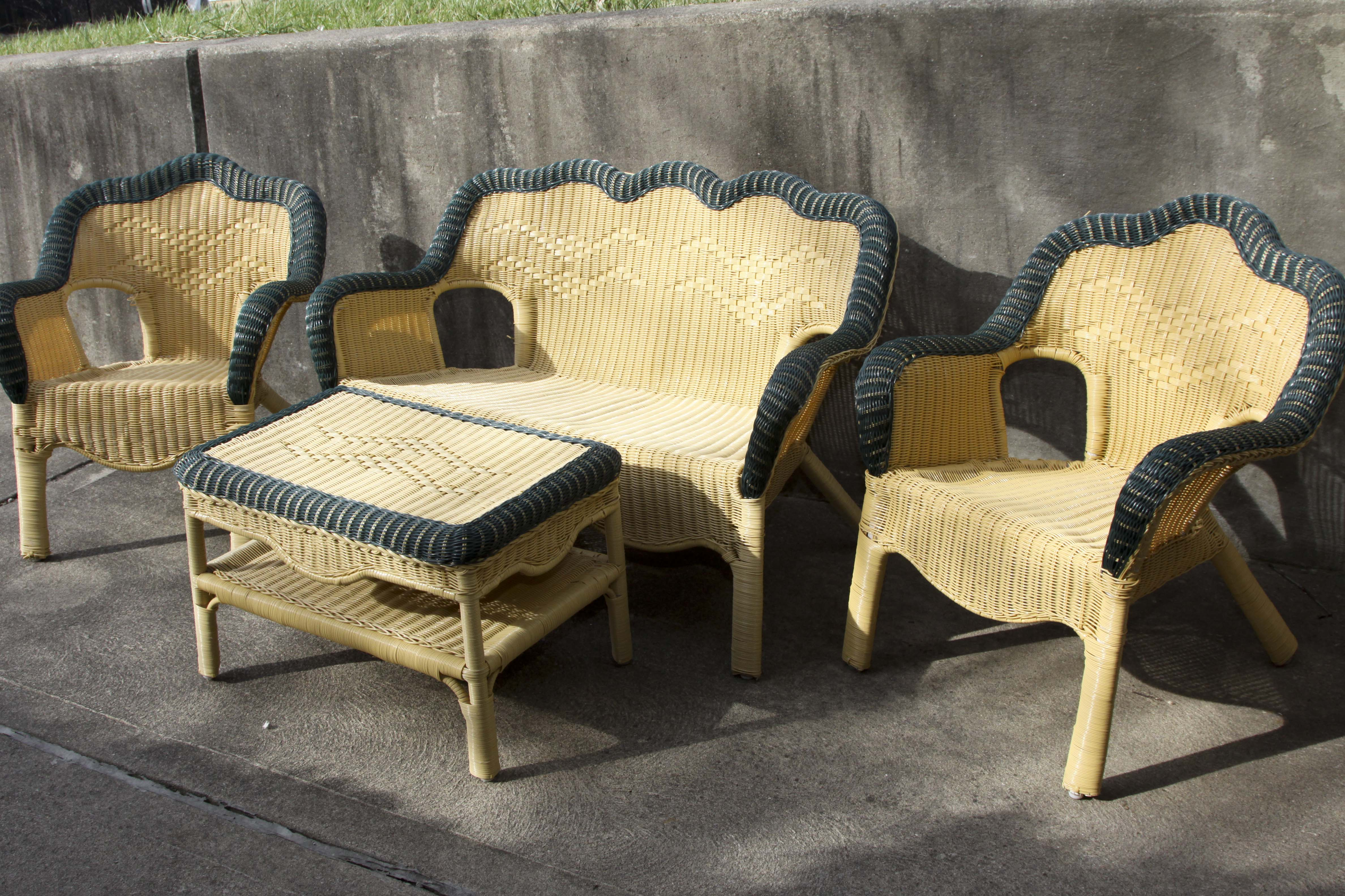 vinyl wicker chairs high back outdoor covered set ebth