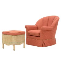 Pink Trellis Patterned Rocking Chair and Ottoman : EBTH