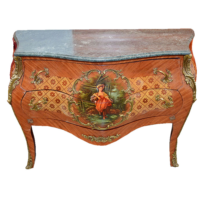 Hand Painted And Inlaid Bombe Chest Of Drawers Ebth