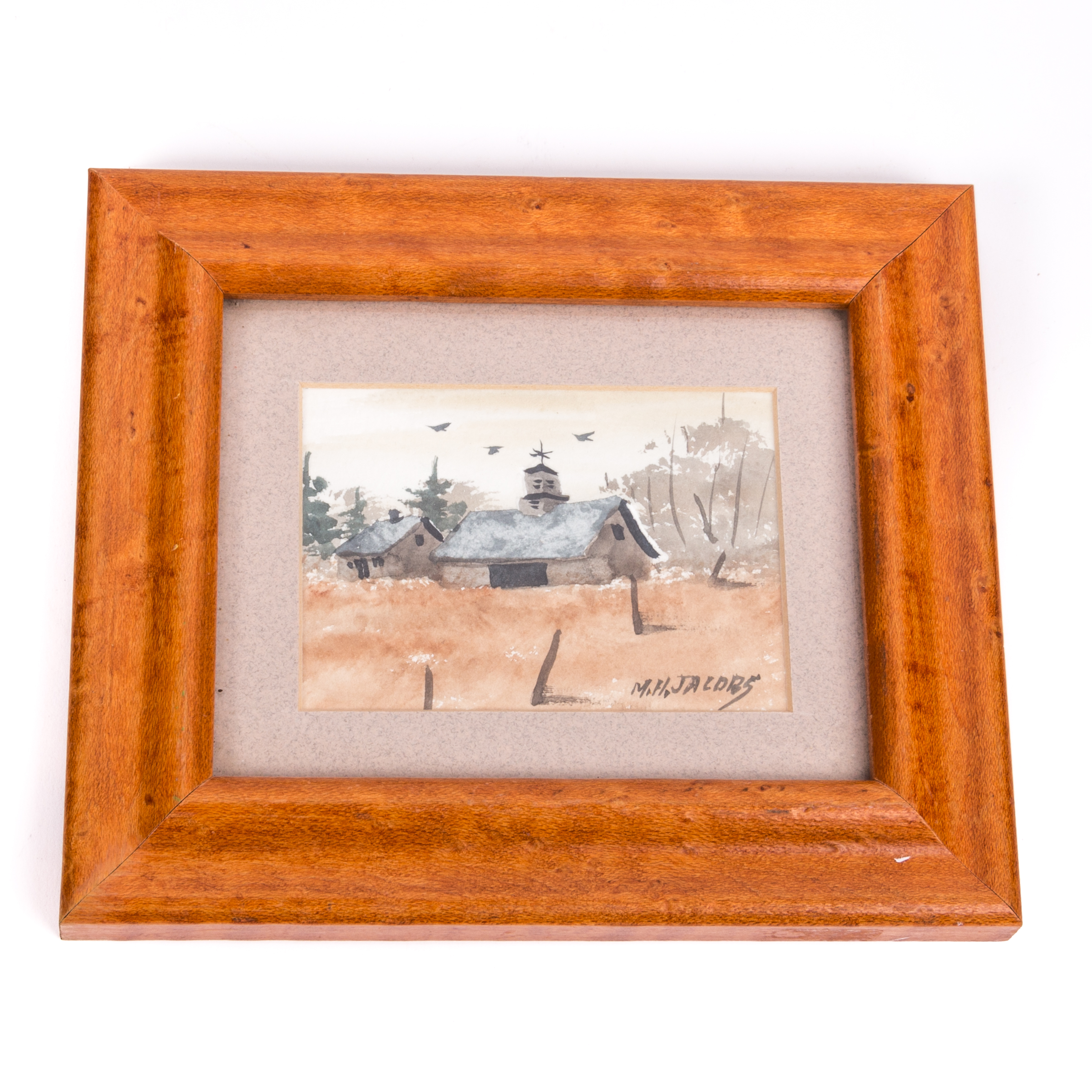 M H Jacobs Miniature Watercolor Painting Of Barn Ebth