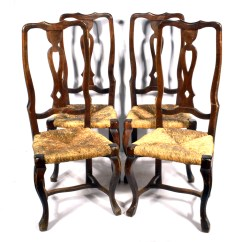 Rush Seat Chairs Patio Stacking Queen Anne Style Ebth